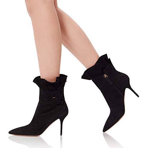 F-JWZS laarzen, grote maten damesschoenen, geplooide gesp, puntige hoge hakken dameslaarzen, is een modeartikel voor uw persoonlijkheid