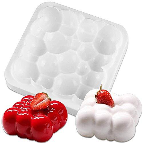 Mousse-Kuchenform, FANDE Quadratische Mousse-Kuchenform, 3D Bubbles Sky Cloud Silikon Kuchenform Weiße Farbe, Bubble Cloud Dessert Auto Aroma Tool Backwerkzeuge