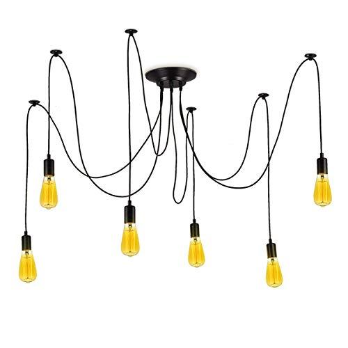 BarcelonaLED Lámpara de Araña Colgante Negro de Suspensión Estilo Vintage Retro con Cable PVC y 6 brazos Portalámparas E27 LED para Techo Habitación Salón Cocina Comedor
