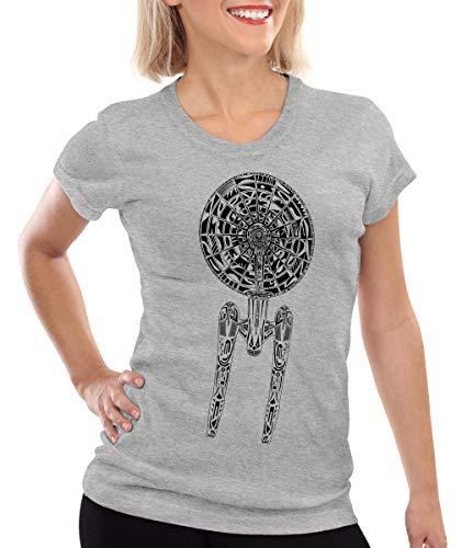 style3 Astronave II Camiseta para Mujer T-Shirt Trek Trekkie Star, Color:Gris Brezo, Talla:L