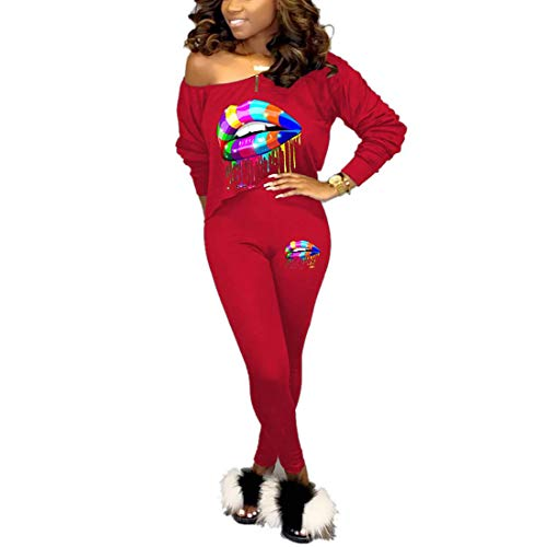 Nimsruc Womens Sexy Club 2 Piece Outfits Long Sleeve Hot 2 Pcs Colorful Lip Print Matching Clothing 2019 Skew Neck Pants Set Red L