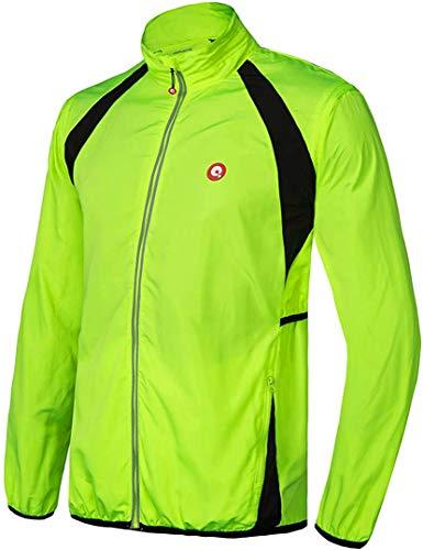 Men's Cycling Running Jacket with Detachable Windproof Sleeves, Lightweight Waterproof Windbreaker Bike Jacket Hooded