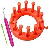 Coopay Telar de punto con 12 varillas, pequeño y redondo para tejer, gorro,...