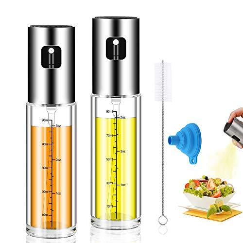 Olive Oil Sprayer,2pack Oil Dispenser Mister for Cook Refillable Oil Vinegar Dispenser Glass Bottle with Measurements for BBQ Baking Roasting Frying Oil Control Diet 100ml with Brush Funnel