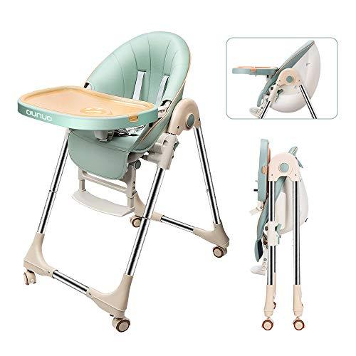 OUNUO Baby Hochstuhl Vertehllbar und Klappbar kinderhochstuhl mitwachsend Kindersitz Kinderstuhl mit Sicherheitsgurt 6 Monaten bis 6 Jahre PU Leder Kissen (Grün)