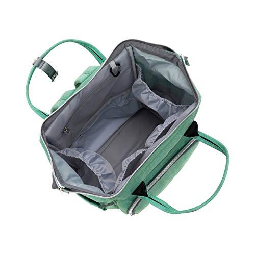 Wickelrucksack von Fillikid in Mint-die Rückenseite mit Kinderwagenhaken und Rückenseitenöffnung