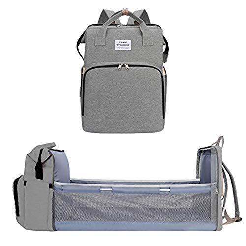 FGDJTYYJ Portable Diaper Bag Folding baby Diaper Backpack Folding bed Cradle Mommy Bag Baby Travel Rucksack Diaper Diaper Pads for Mum Dad Baby (Color : Gray)