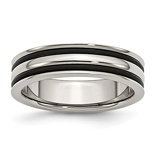 Mens 6mm Stainless Steel Grooved and Black Rubber Wedding Band Ring Size 7 -  Jewelry Stores Network, JSN-90598