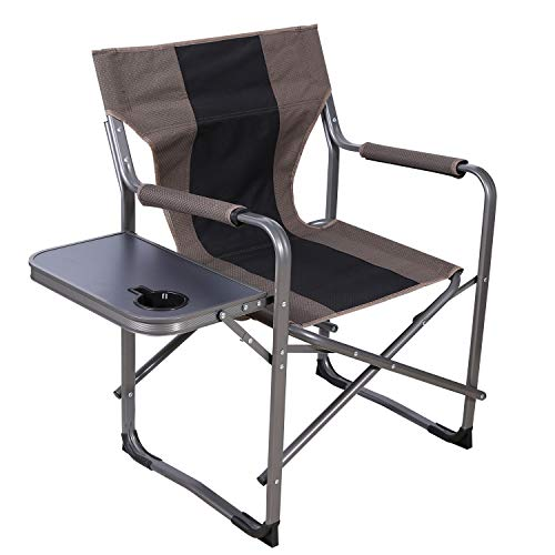 CAMPMAX Folding Director Camping Chairs with Side Table, Sturdy Portable Outdoor Camp Chair for Adults Heavy Duty, Portable for Outside Sports Lawn, Brown&Black