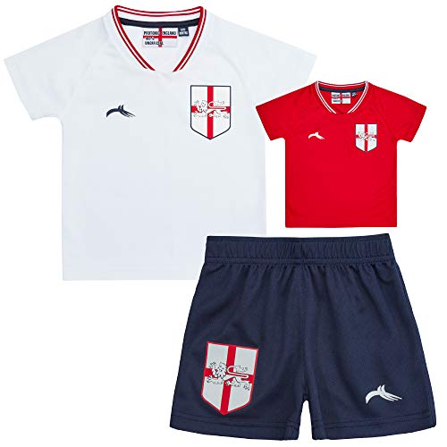 Kids Childrens Boys England Football Soccer T-Shirt Short 3 Pieces Kit 3-4...