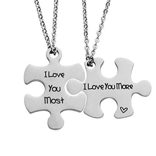 omodofo Valentine's Day His and Hers Puzzle Piece Pendant Necklace/KeyChain Set Personalized Couples Stainless Steel Hand Stamped Gift Jewelry Chain/Keyring (I love you more & most (Necklace)))