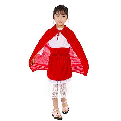 Capa con Capucha de Terciopelo Rojo de 60cm Capa roja para niños Capa de Caperucita Roja Capa de Disfraces de Halloween Capa con Capucha para Disfraz de Bruja Vampiro