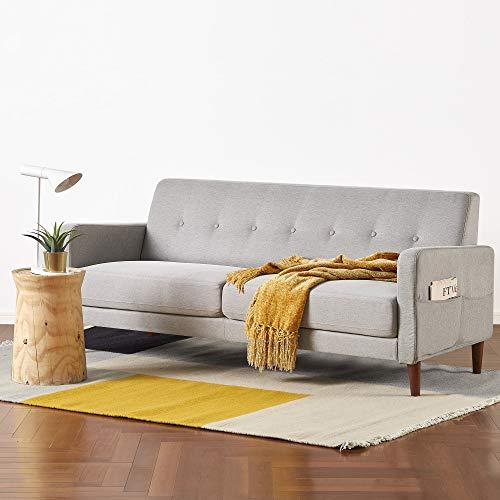 Mellow ADAIR Mid-Century Modern Loveseat/Sofa/Couch with Armrest Pockets, Light Grey
