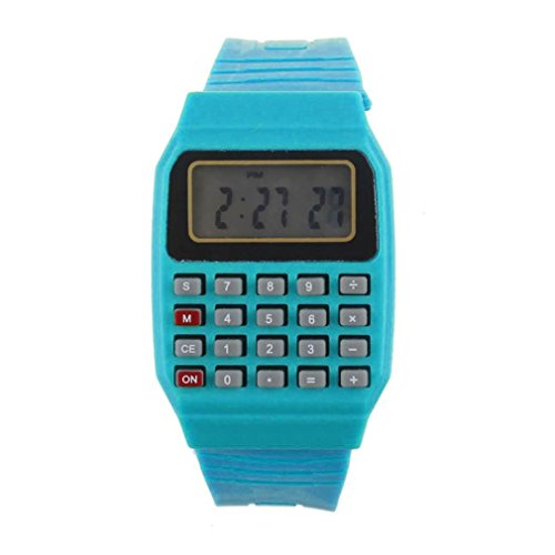 Cebbay Reloj para niños Unisex de Silicona Multi-Propósito Fecha Hora Calculadora de Pulsera electrónica Reloj Ocio Moda Noble (Azul)