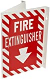 Brady 96908 12' Height, 18' Width, B-450 Rigid Polyethylene White on Red Color High Visibility Sign - Flexible, Legend 'Fire Extinguisher With Picto'