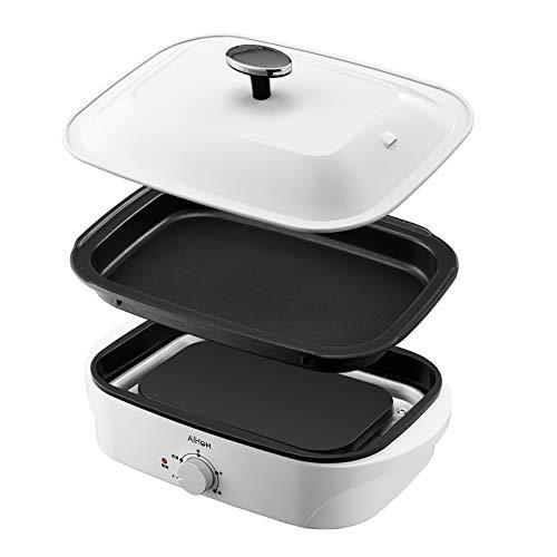 AIHOM ホットプレート 着脱式プレート 平面(標準)コンパクトホットプレート人気 鍋 たこ焼き 焼肉マルチ 電気 温度調節 1人 2人 3人 用 小型 1200W 1年間保証 白