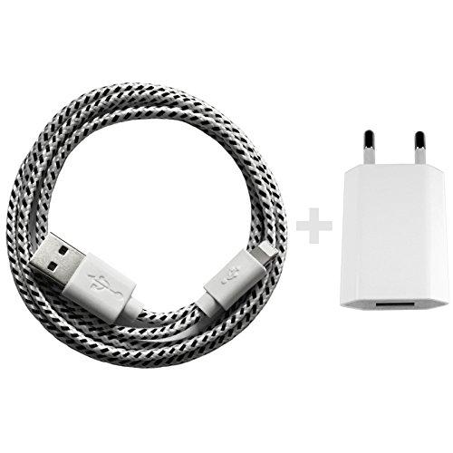 Nylon USB 8-Pin oplaadkabel datakabel oplader compatibel met [Apple iPhone XS XR XS Max X 10 8 8Plus 7 7Plus 6S 6SPlus 6 6Plus 5S 5C 5 SE | iPad | iPod] bont 1m weiß + Netzteil
