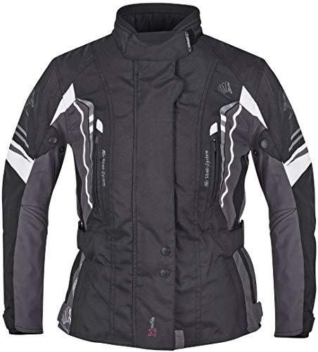 Germot Xantia Pro Damen Motorrad Textiljacke Schwarz/Weiß/Grau 36