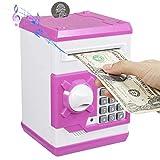 PowerKing Hucha, Caja de Ahorro Segura de Hucha de cajero automático de Dibujos Animados electrónica - Caja de Monedas de contraseña de Ahorro de Dinero del Banco de Dinero para niños (ATM Blanco)