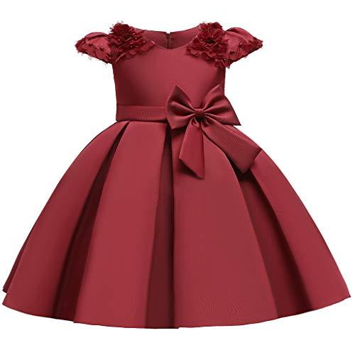 Heetey Vestido de niña con flores de princesa, dama de honor, fiesta de cumpleaños, vestido de novia, sin mangas, con tutú bordado, vestido de princesa con flores C_rojo 120 cm