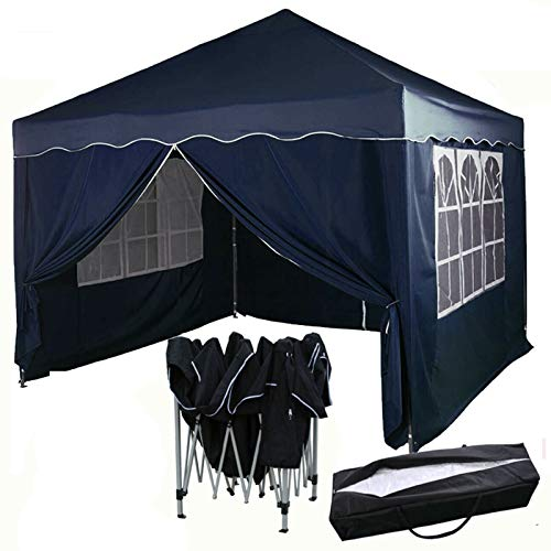 Autofather 3m x 3m Pop Up Gazebo for All Season, 4 Side Removable Panels Canopy Shelter Party Tent Marquee Wedding Outdoor with Free Carry Bag (Dark Blue)
