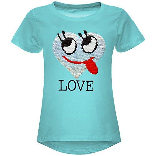 BEZLIT Mädchen Wende-Pailletten T-Shirt Herz Love Motiv 22605 Grün Größe 164
