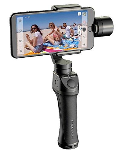 Freevision Vilta M Stabilizzatore Gimbal a 3 Assi per Smartphone, iPhone, Action Cam e Tutte le Videocamere di GoPro, Nero