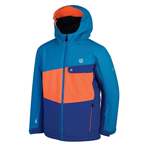 Dare 2b Unisex Kinder Wrest Waterproof Breathable High Loft Insulated Ski Snowboard Jacket with Snowskirt and Reflective Detail Jacke, Oxford Blue/Vibrant Orange, 3-4