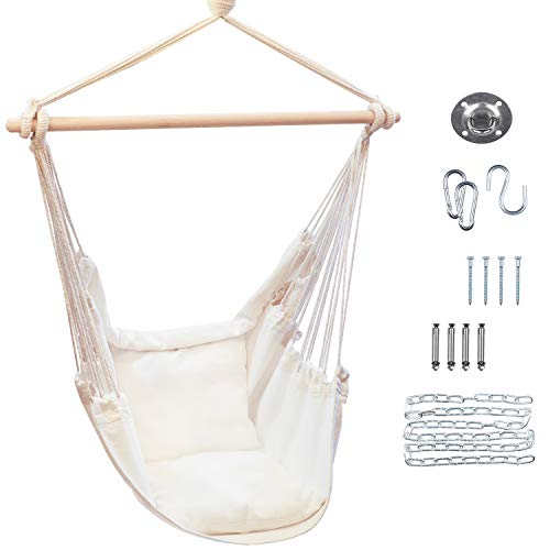 Macrame Hanging Hammock Chair, Perfect for Teen's Bedroom and Boho Room Decor, Indoor and Outdoor Hanging Chair with 2 Comfortable Cushions, Swing Chair Includes Durable Hardware Kit, Max 330 lb.