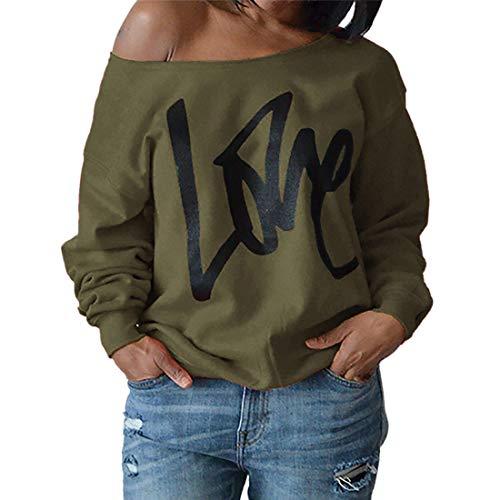 T-Shirt Damen Mode Sexy Off Shoulder Love Printing Langarm T-Shirt Tops Frühling und...