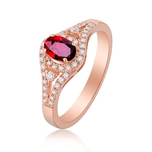 AYDOME Nuckle Rings Women, 1ct Ruby Simple Ring with Oval Diamond 18K Rose Gold Red Brides Girls O 1/2
