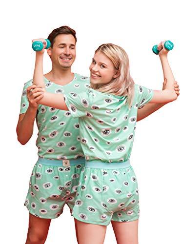 Happy Pijama Pyjama Set aus Bio-Baumwolle für Männer und Frauen, Nachtwäsche, Loungewear in Geschenkbox Gr. L, Diese Augen