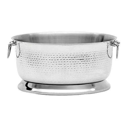 """Beverage Tub, Brushed Hammered Stainless Steel with Double Wall Construction - 19""""Dia x 11""""H"""