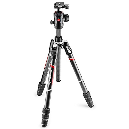 Manfrotto MKBFRTC4GT-BHUS Befree Advanced Travel Tripod, Twist Lock with Ball Head for Canon, Nikon, Sony, DSLR, CSC, Mirrorless, Up to 10 kg, Lightweight with Tripod Bag, Carbon, Black, Black/Silver