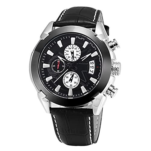QHG Reloj de Pulsera de Cuero Impermeable de Cuarzo para Hombres con cronógrafo analógico DIGARIO DE Calendario DE Fecha (Color : B)