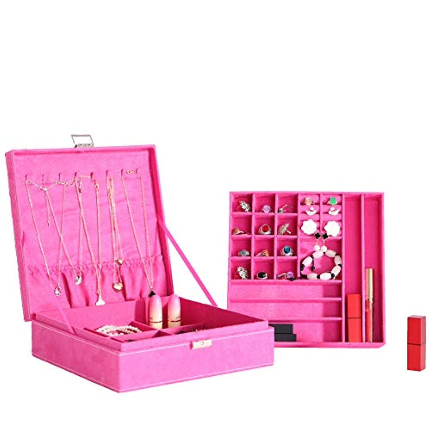 PENGKE 2 Layer Jewelry Box Organizer Display Storage case with Lock,Pink of 1