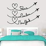 París Londres avión amado viajes tatuajes de pared decoración del dormitorio del hogar arte de la pared mural papel autoadhesivo A6 61x42 cm