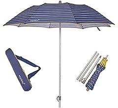 EZPELETA Sombrilla terraza. Parasol/Sombrilla de playa. Paraguas sol ligero y plegable de aluminio. Diámetro 155cm. Protección solar UPF 50+. Estampado rayas/marinero. Incluye funda/bolsa.- Rayas-Azul: Amazon.es: Equipaje