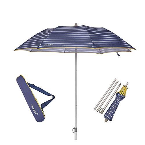 EZPELETA Sombrilla terraza. Parasol/Sombrilla de playa. Paraguas sol ligero y plegable de aluminio. Diámetro 155cm. Protección solar UPF 50+. Estampado rayas/marinero. Incluye funda/bolsa.- Rayas-Azul