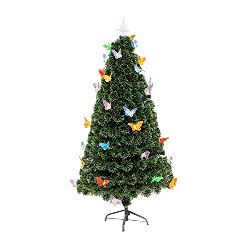 SMQHH Christmas Tree,Light Weight Artificial Fiber Optic Christmas Tree Christmas Decorations with Multi-Color LED Lights and Butterflies (Size : 90cm(3FT))