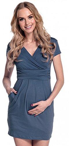 Happy Mama. Damen Umstands-Kleid. Schwangerschafts Tulpenkleid mit Taschen. 806p (Blau Grau, EU 40, L)