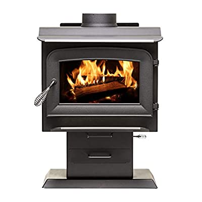 Ashley Hearth AW1120E-P 1,200 Sq. Ft. EPA Certified Pedestal Wood Burning Stove, Black from Ashley Hearth Products