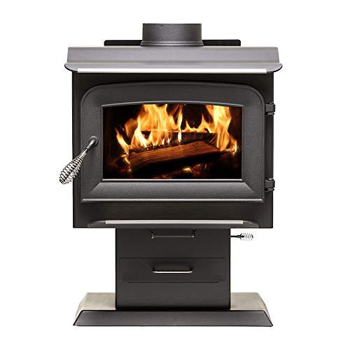 Ashley Hearth AW1120E-P 1,200 Sq. Ft. EPA Certified Pedestal Wood Burning Stove, Black