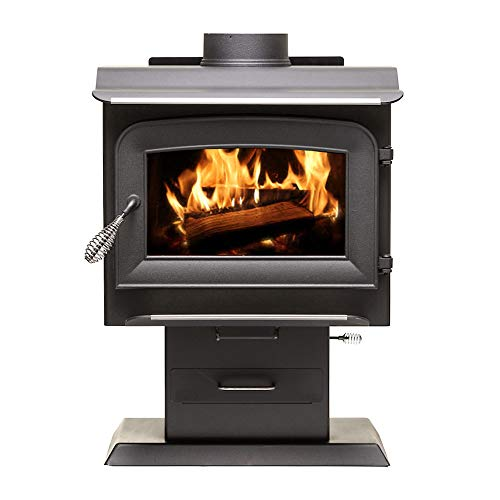 Ashley Hearth AW1120E-P 1,200 Sq. Ft. EPA Certified Pedestal Wood Burning Stove, Black