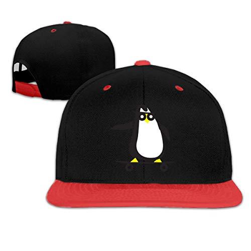 N/A Childrens Girls Skateboard Clipart Penguin Baseball cap Snapback Flat Brim cap