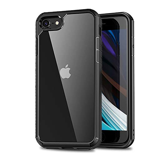 LAYJOY Funda iPhone SE 2020, Funda iPhone 8, Funda iPhone 7 Carcasa Ligera Bumper Silicona Suave Negro TPU y Transparente Duro PC Case Anti-Arañazos Anti-Golpes Cover para iPhone SE 2020/7/8 -Clear