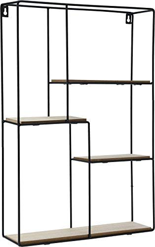 Spetebo Design Wandregal 55x37 cm - 4 Holz Ablagen - Metall Hängeregal Setzkasten Regal