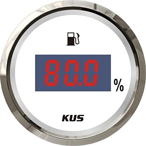 """KUS Wasserdichte Digitale Heizölstandsanzeige Messanzeige 0-190 Ohm Mit Hintergrundbeleuchtung 12V/24V 52 MM (2 """") (Weiß)"""