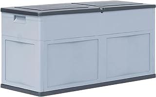 vidaXL Boîte de Rangement de Jardin 320 L Gris Noir Coffre Stockage Extérieur