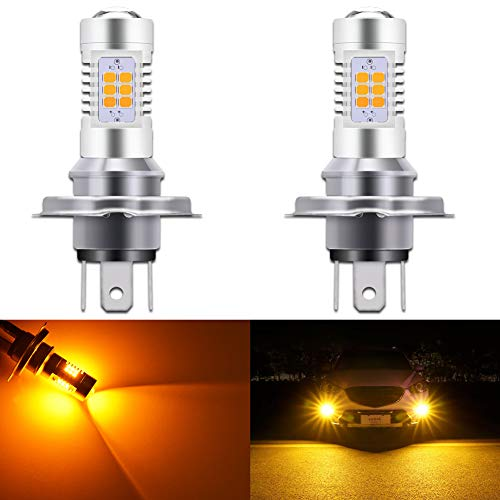 KaTur H8 H9 H11 led-mistlamp, max. 80 W, super helder, 2000 lumen, 6500 K, xenon, wit, met projector voor dagrijverlichting of nachtlampje, 2 stuks H4 Ambre Jaune
